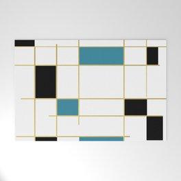 MidCentury Modern Art Aqua Gold Black Welcome Mat
