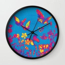 Blue Butterflies & Flowers Wall Clock
