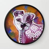pitbull Wall Clocks featuring Pitbull Art by Just Bailey Designs