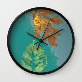 Two leaves, painted acrylic Wall Clock
