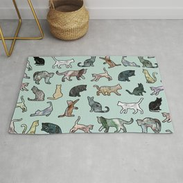 Cats shaped Marble - Mint Green Rug