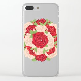 Red and Beige Roses Clear iPhone Case
