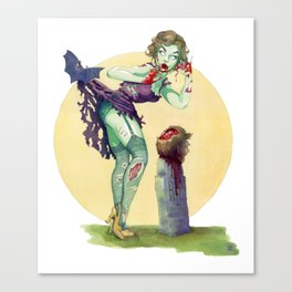 """""""Midnight Snack"""" - Zombie Pin-up Canvas Print"""