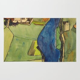 "Egon Schiele ""Stadt am blauen Fluss (Town on the blue river)"" Rug"