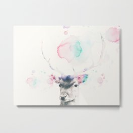 Pastel watercolor deer -Scandinavian art Metal Print
