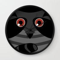 racoon Wall Clocks featuring racoon - raccoon  by ArigigiPixel