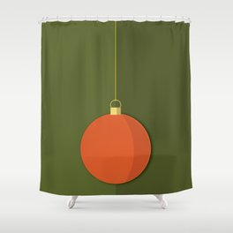 Christmas Globe - Illustration in Green and Orange Shower Curtain