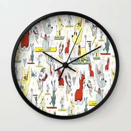Chi's on skis Wall Clock