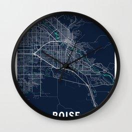 Boise Blue Dark Color City Map Wall Clock