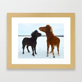 Pony Fight Framed Art Print