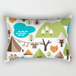 Wild camping trip with fox and wild animals illustration Rectangular Pillow
