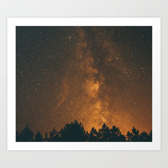 The Milky Way (Forest Landscape Photography, Starry Night Sky Photo) Art Print