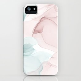 Blush and Blue Flowing Abstract Painting iPhone Case