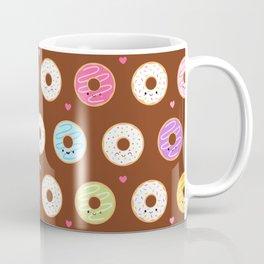 Kawaii Donuts Pattern on Brown Coffee Mug