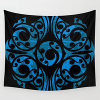 maori Wall Tapestries featuring Blue Maori Style by Lonica Photography & Poly Designs