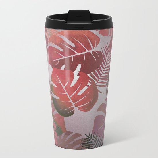 Tropical Autumn Leaves Metal Travel Mug