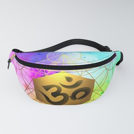 Sacred Geometry Metatron's Cube Om Chant Fanny Pack