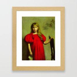 Portrait of a girl in a red dress - Józef Pankiewicz Framed Art Print