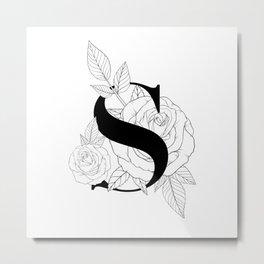 Monogram Letter S with Rose Line Art  Metal Print
