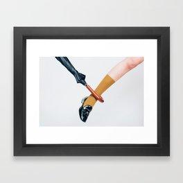 Umbrella and Leg Framed Art Print