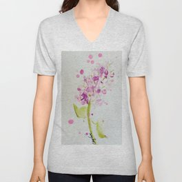 Lilac Sweet Pink Blossom watercolor by CheyAnne Sexton Unisex V-Neck