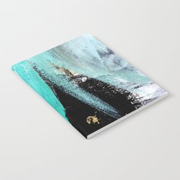 Fairy Dreams: an abstract mixed media piece in black, white, teal, and gold Notebook