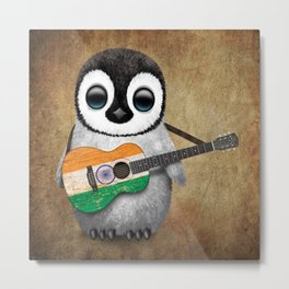 Baby Penguin Playing Indian Flag Acoustic Guitar Metal Print
