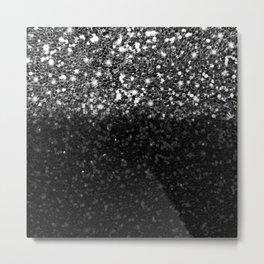 Black & Silver Glitter Gradient Metal Print