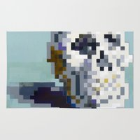 8bit Area & Throw Rugs featuring 8Bit Skull by Delton Demarest