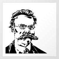 nietzsche Art Prints featuring Friedrich Nietzsche by Joshua M. Paschal