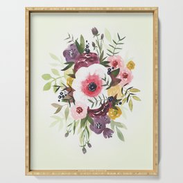 Burgundy Blush Watercolor Floral Serving Tray