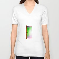 door V-neck T-shirts featuring Door by Brontosaurus