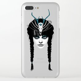Wakeful Warrior - In Blue Clear iPhone Case