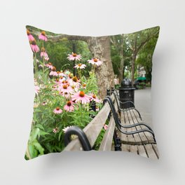 City Bench Flowers Throw Pillow