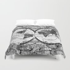 World map duvet cover by bekimart society6 world map black and white duvet cover gumiabroncs Gallery