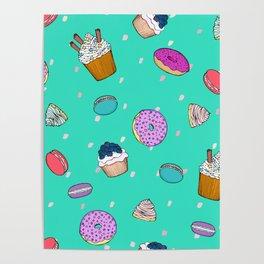 Sweet desserts pattern Poster