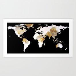 World Map Silhouette - Popcorn Art Print