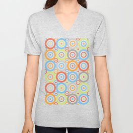 Abstract Circles Pattern Color Mix & Greys Unisex V-Neck