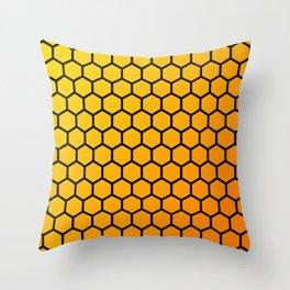 Yellow and orange honeycomb pattern Throw Pillow