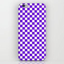 White and Indigo Violet Checkerboard iPhone Skin