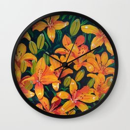 Daylilies in the Garden Wall Clock