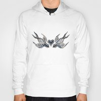 swallow Hoodies featuring Swallow love by Isobel Woodcock Illustration