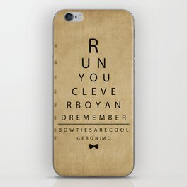 Run You Clever Boy - Doctor Who Inspired Vintage Eye Chart iPhone Skin