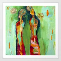 "flora bowley Art Prints featuring ""Two Flowers"" Original Painting by Flora Bowley by Flora Bowley"