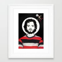 flight of the conchords Framed Art Prints featuring Flight of the Conchords: BRET McKENZIE IN SPACE! by Dianah B