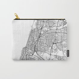 Tel Aviv Map White Carry-All Pouch