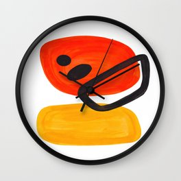Midcentury Modern Colorful Abstract Pop Art Space Age Fun Bright Orange Yellow Colors Minimalist Wall Clock
