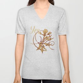 Native leaves with red and gold chevron Unisex V-Neck