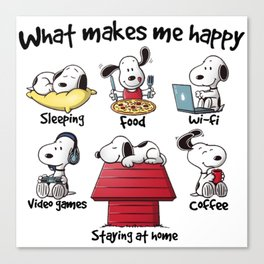 What makes me happy Snoopy Christmas Canvas Print