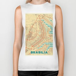 Brasilia Map Retro Biker Tank